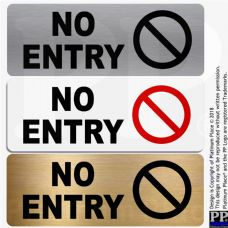 No Entry- WITH IMAGE- Aluminium Metal-Warning,Caution,Door,Notice,Office,Shop